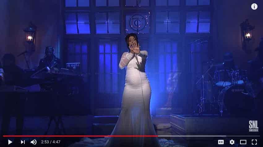 Cardi B on SNL - YouTube Screenshot